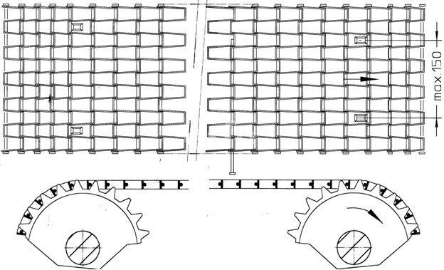aandrijving HO honingraatband met keerwiel en aandrijfwiel