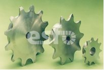 Side sprockets for hollow pin chain or roller edge