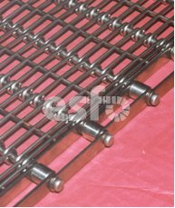 Wire Link Belt with roller edges. Type: OB-RK